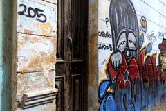Graffiti sur le mur d'un bâtiment à La Havane images libres de droits