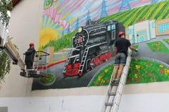 Graffiti sur le mur d'un bâtiment Image stock