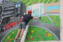 Graffiti sur le mur d'un bâtiment Photo stock