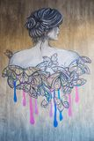 Graffiti sur le mur gris illustration de vecteur