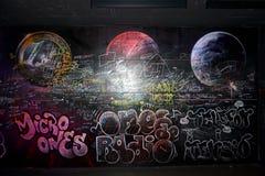Graffiti sur le mur, peint dans le ` de Cosmo Caixa de ` de musée à Barcelone photo stock