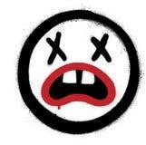 Graffiti Szalony Emoticon rozpylający nad bielem royalty ilustracja