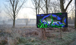 Graffiti sztuka St Neots rzeką Obrazy Royalty Free