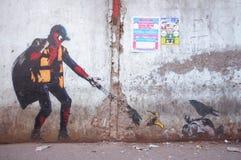 Graffiti sztuka w Mumbai slamsy Fotografia Royalty Free