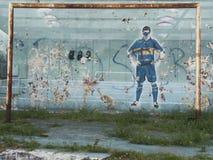 Graffiti sztuki piłki nożnej farby uliczna sztuka na ściennych Caminito dzielnicy losu angeles Boca Buenos Aires Argentyna ameryk Obraz Royalty Free