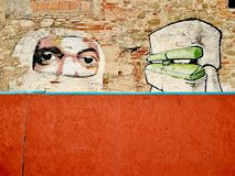 Graffiti sztuki portreta uliczna ściana w gett obrzeżach Fotografia Stock