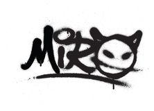 Graffiti tag miro sprayed with leak in black on white Stock Photography