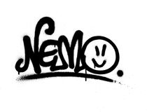 Graffiti tag nemo sprayed with leak in black on white Stock Photo