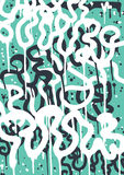 Graffiti Tag. Vector fashion graffiti font. modern hand drawing retro style font texture, design elements in white, blue. Used clipping mask for easy editing Stock Photo