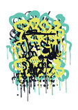 Graffiti Tag. Vector fashion graffiti font. modern hand drawing retro style font texture, design elements in white, green, black, blue stock illustration