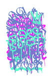 Graffiti Tag. Vector fashion graffiti font. modern hand drawing retro style font texture, design elements in white, pink, purple, fluorescent, neon stock photos