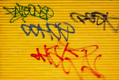Graffiti tags on a metal door Stock Photography