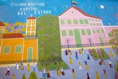 Graffiti tanów ludzie w starym kolonisty Ciudad bolivarze, Venez fotografia stock