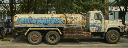 Graffiti tank truck Stock Photo