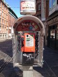 Graffiti telephone kiosk in Dublin Stock Image