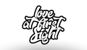 Graffiti text. Love at first sight black beautiful graffiti text word expression typography isolated on white background suitable for a logo banner t shirt or Royalty Free Stock Image
