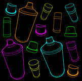 Graffiti tools icon collection spray-can and cap on black Royalty Free Stock Photos