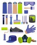 Graffiti tools set. In flat design Stock Image