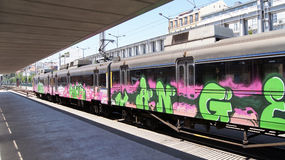 Graffiti train Stock Image