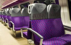 Graffiti in a train interior Stock Photos