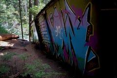 Graffiti Train Wreck in Whistler Stock Photography