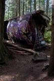Graffiti Train Wreck in Whistler Stock Images