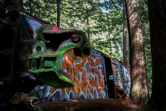 Graffiti Train Wreck in Whistler Royalty Free Stock Photography
