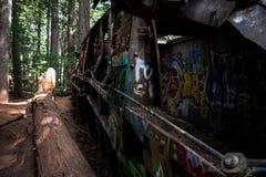 Graffiti Train Wreck in Whistler Stock Photos