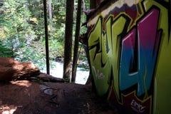 Graffiti Train Wreck in Whistler Royalty Free Stock Image