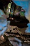 Graffiti Train Wreck in Whistler Stock Image