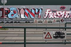 Graffiti on tram tracks Stock Photography