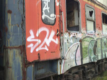 Graffiti trash train Stock Photo