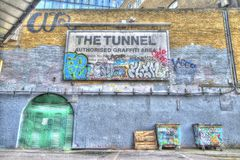 Graffiti tunnel. This shot was taken at graffiti tunnel in leake st, Waterloo Royalty Free Stock Photography