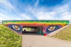 Graffiti Tunnel Vänersborg. Graffiti tunnel Vänersborg Vanersborg Sweden Torpa concrete color eyes stock photo