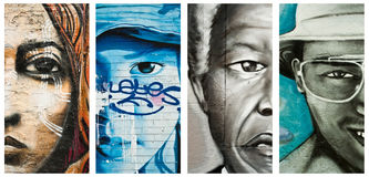 Graffiti twarze Obrazy Royalty Free