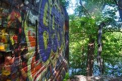 Graffiti ummauern draußen in der Natur Stockbild