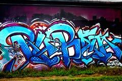 Graffiti ummauern, im Stadtzentrum gelegenes Houston, TX 3 Stockbild
