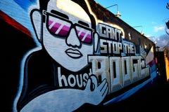 Graffiti ummauern, im Stadtzentrum gelegenes Houston, TX 5 Stockbilder