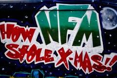 Graffiti ummauern, im Stadtzentrum gelegenes Houston, TX Weihnachten Lizenzfreies Stockbild