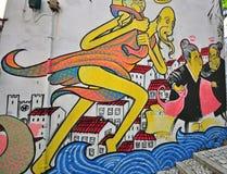 Graffiti ummauern in Lissabon, Portugal Stockbild