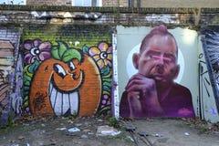 Graffiti in und um Ziegelstein-Weg London England stockfoto