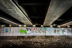 Graffiti under a bridge in Boston, Massachusetts. Stock Photo