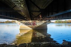 Graffiti under a Bridge. In a Laval, Quebec, Canada Royalty Free Stock Photos