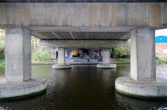Graffiti under a bridge. Nottingham Canal Royalty Free Stock Photo