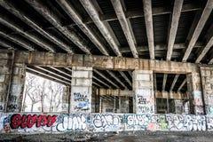 Graffiti under a bridge in Philadelphia, Pennsylvania. Stock Photo
