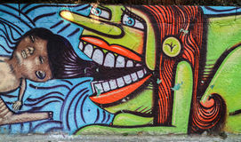 Graffiti of unidentified artist on the wall of the Batman Alley Stock Image