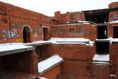 Graffiti urban building. Graffiti ruined urban building winter blasted Stock Photos