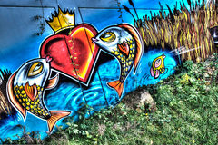 Graffiti Urban Street Art Fish Stock Images