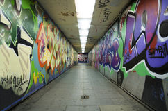Graffiti urban tunnel. Royalty Free Stock Images