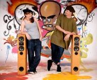 Graffiti urbani degli adolescenti immagine stock